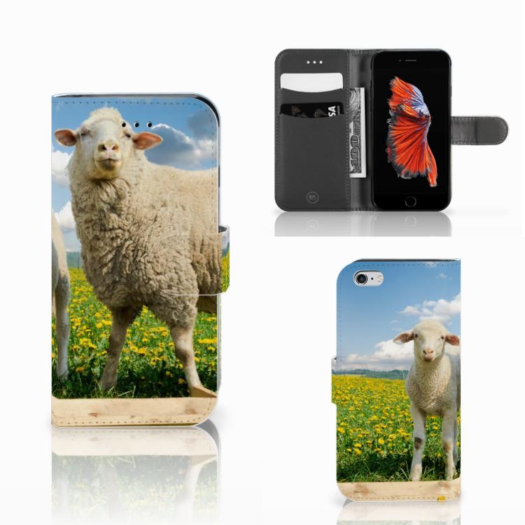 Apple iPhone 6 | 6s Telefoonhoesje met Pasjes Schaap en Lammetje