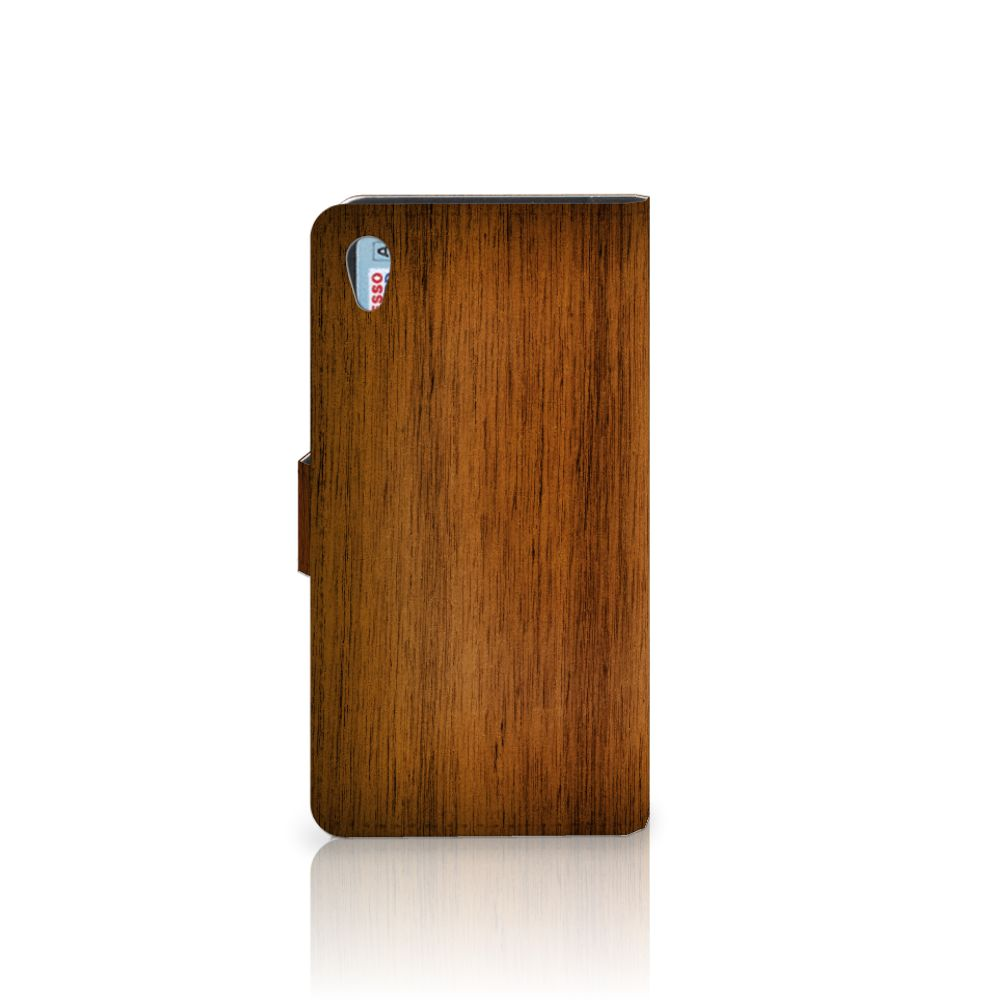 Sony Xperia Z2 Book Style Case Donker Hout