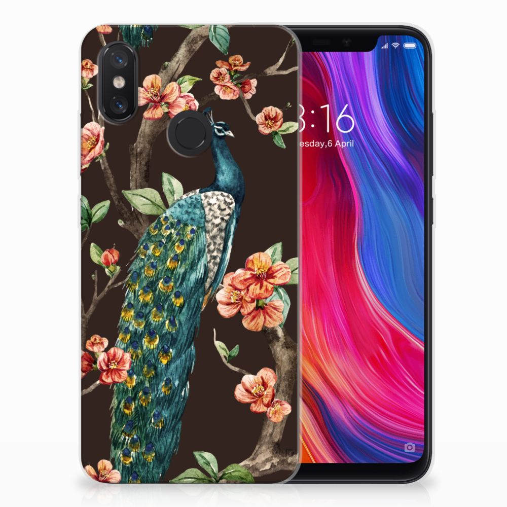 Xiaomi Mi 8 TPU Hoesje Pauw met Bloemen