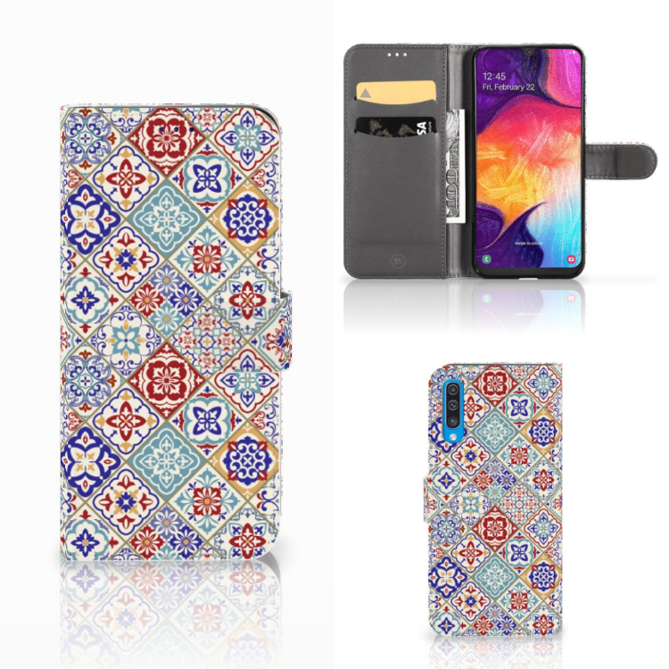 Samsung Galaxy A50 Bookcase Tiles Color