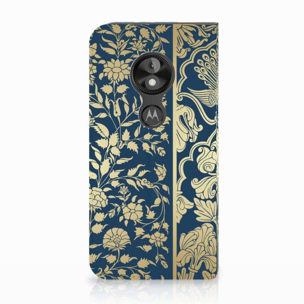 Motorola Moto E5 Play Uniek Standcase Hoesje Golden Flowers