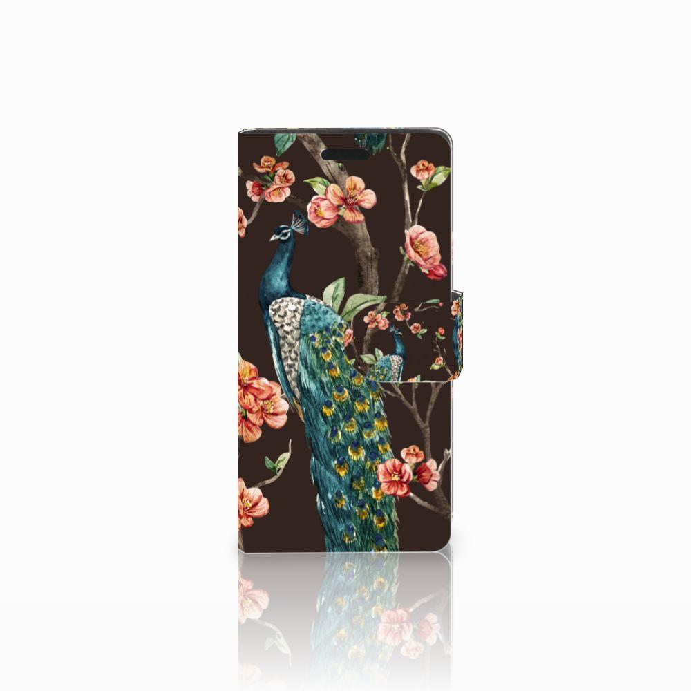 LG Leon 4G Boekhoesje Design Pauw met Bloemen