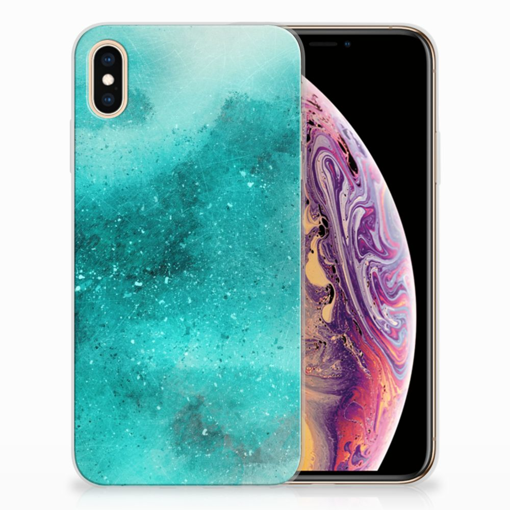Apple iPhone Xs Max Uniek TPU Hoesje Painting Blue