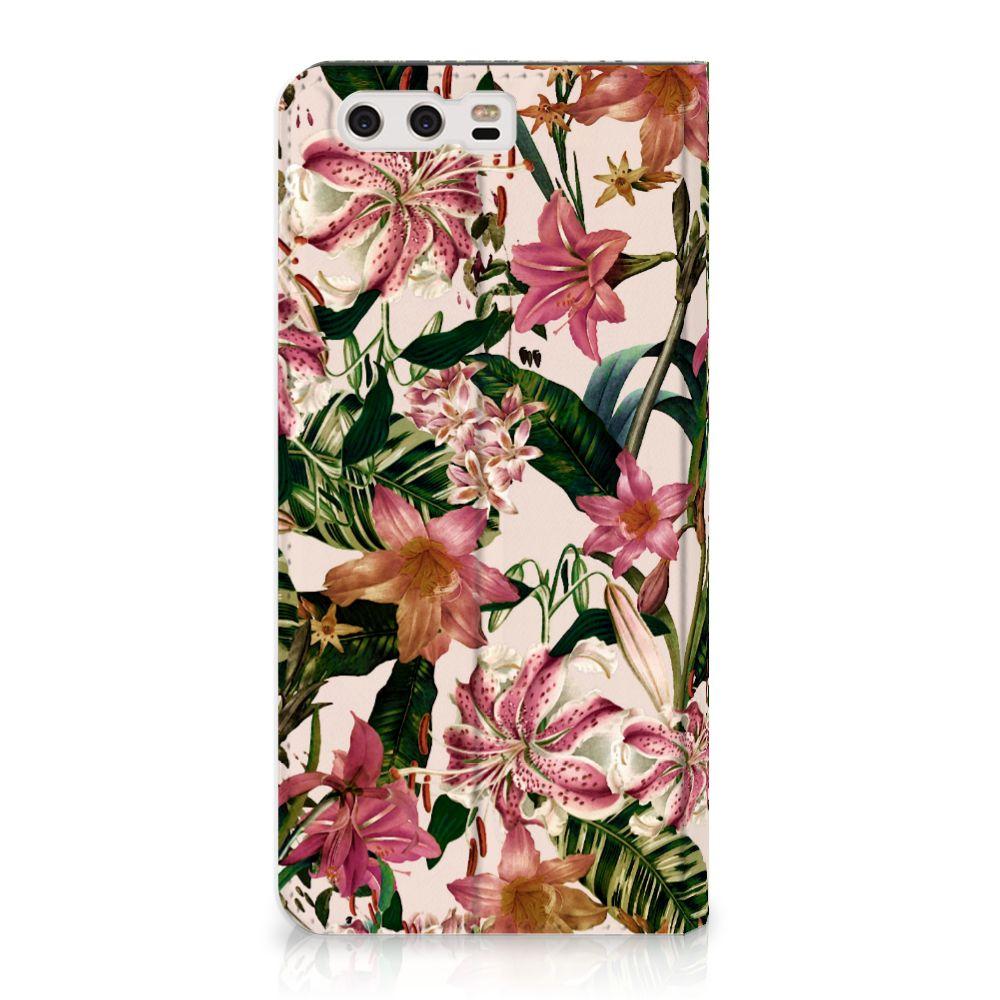 Huawei P10 Plus Uniek Standcase Hoesje Flowers