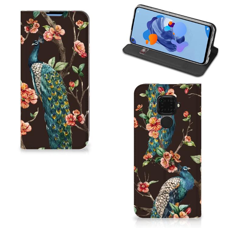 Huawei Mate 30 Lite Hoesje maken Pauw met Bloemen