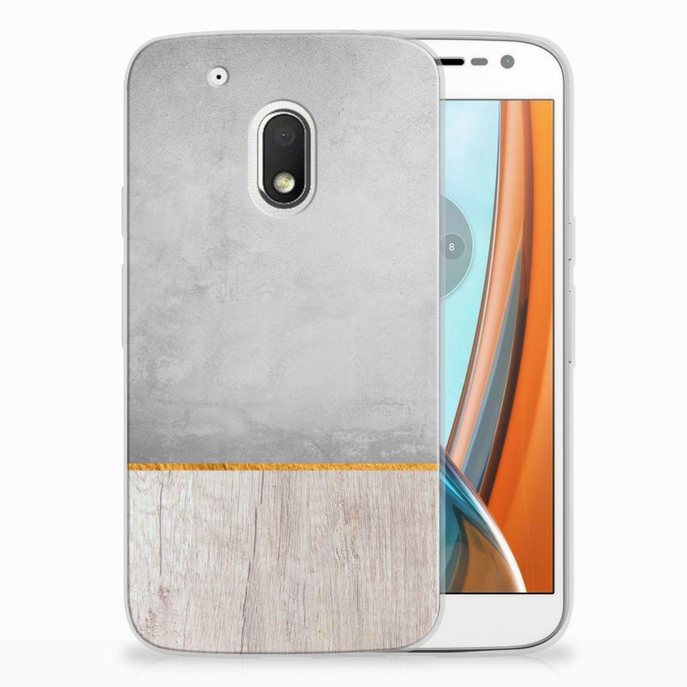 Motorola Moto G4 Play Uniek TPU Hoesje Wood Concrete