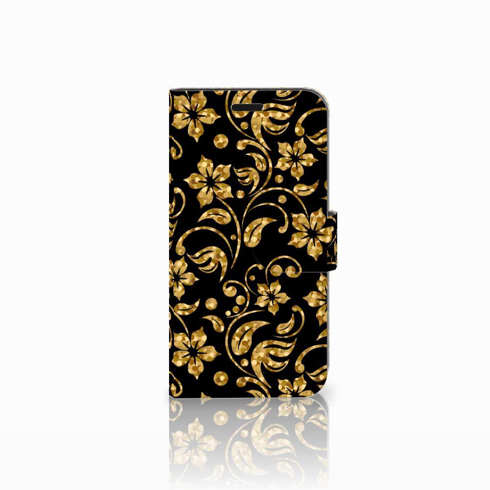 Huawei Nova Boekhoesje Design Gouden Bloemen