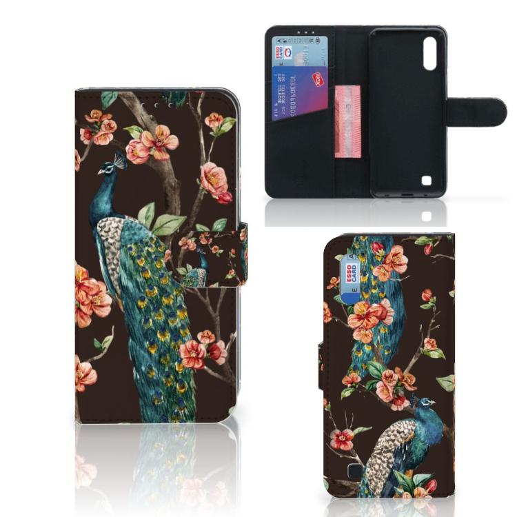Samsung Galaxy M10 Telefoonhoesje met Pasjes Pauw met Bloemen