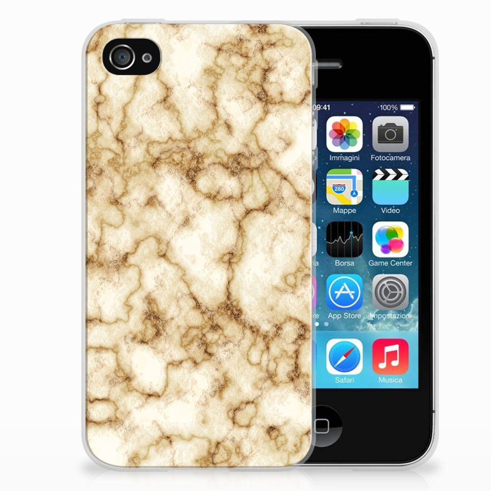 Apple iPhone 4   4s TPU Siliconen Hoesje Marmer Goud