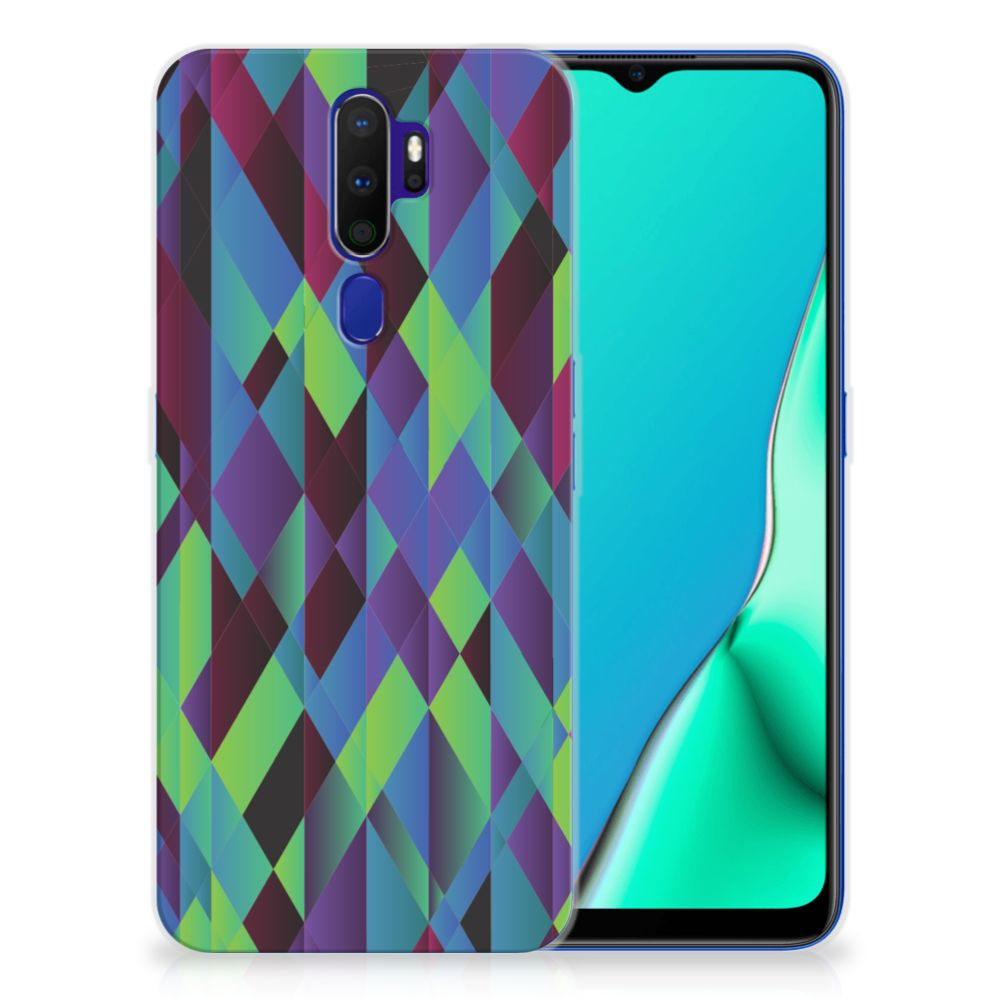 OPPO A9 2020 TPU Hoesje Abstract Green Blue