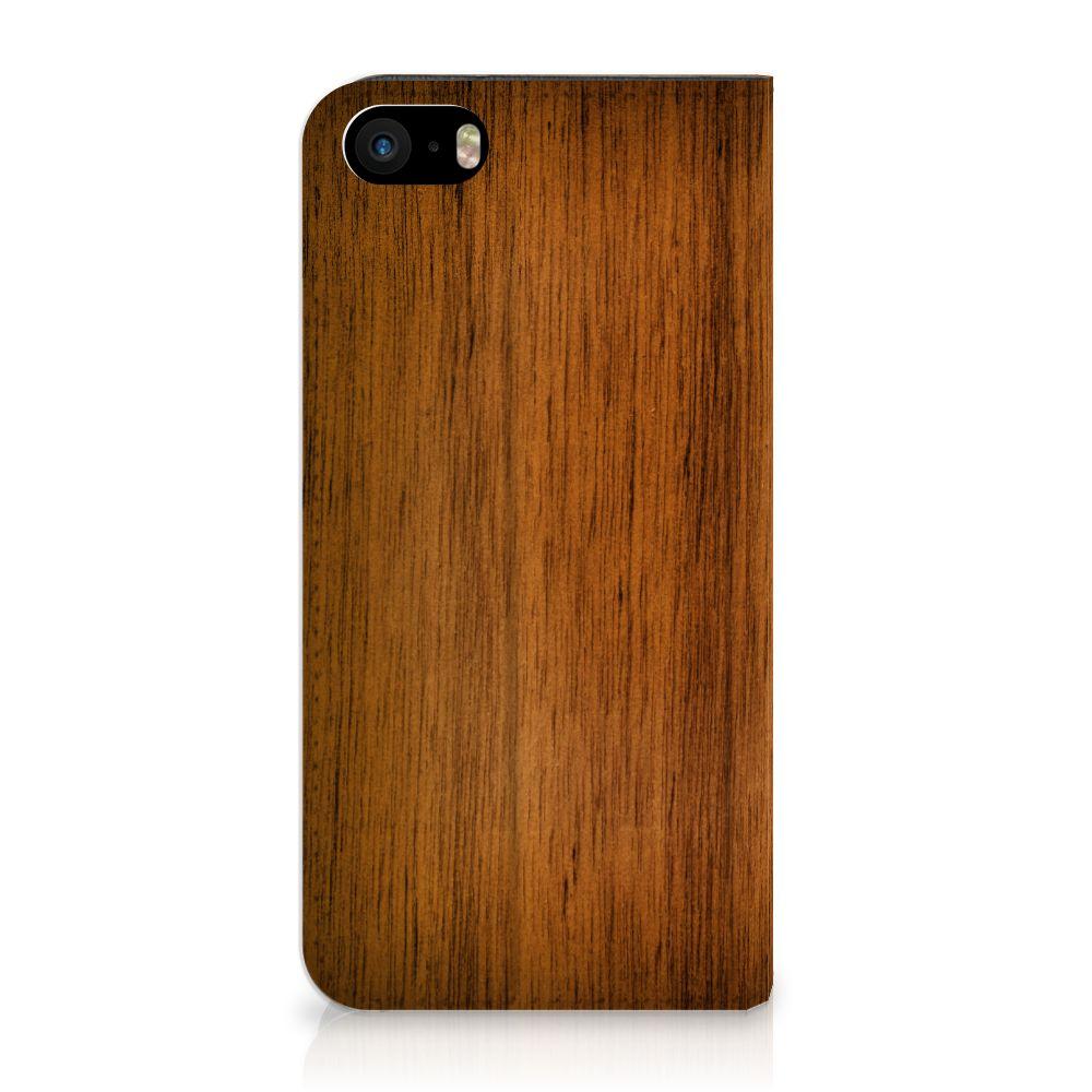 iPhone SE|5S|5 Uniek Standcase Hoesje Donker Hout