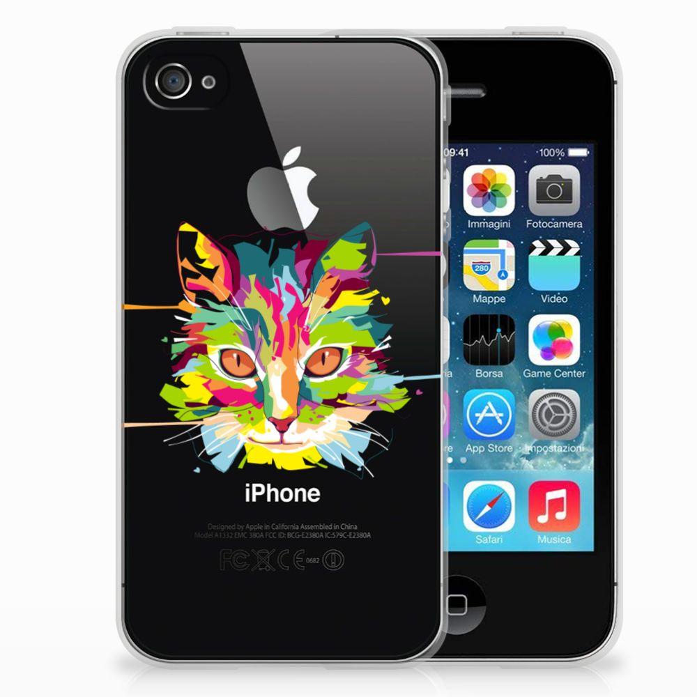 Apple iPhone 4   4s Telefoonhoesje met Naam Cat Color