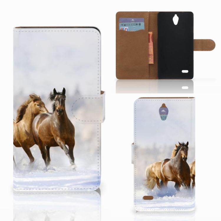 Huawei Ascend G700 Telefoonhoesje met Pasjes Paarden