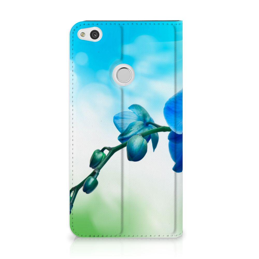 Huawei P8 Lite 2017 Standcase Hoesje Design Orchidee Blauw