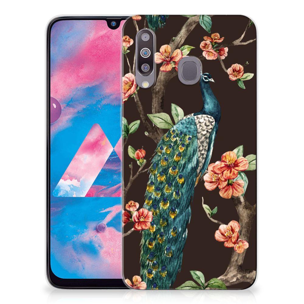 Samsung Galaxy M30 TPU Hoesje Pauw met Bloemen