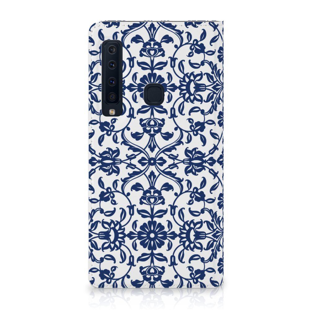 Samsung Galaxy A9 (2018) Standcase Hoesje Flower Blue