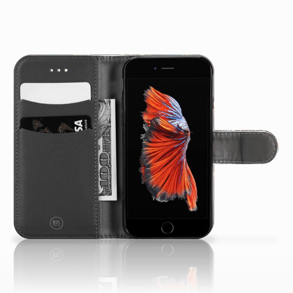 Apple iPhone 6 | 6s Telefoonhoesje met Pasjes Pauw met Bloemen