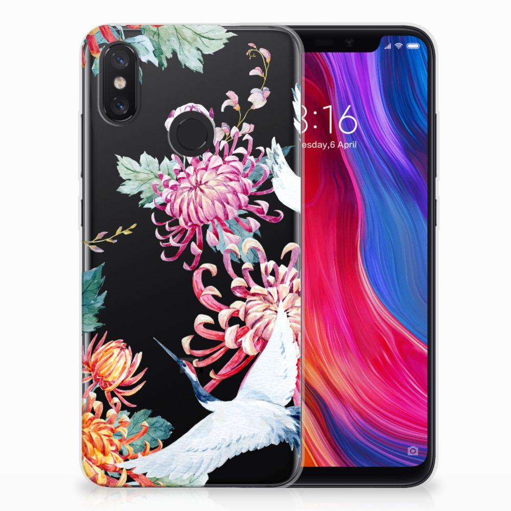 Xiaomi Mi 8 TPU Hoesje Bird Flowers