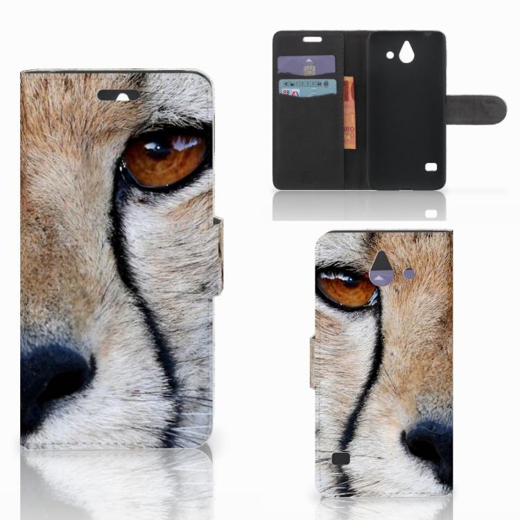 Huawei Ascend Y550 Telefoonhoesje met Pasjes Cheetah