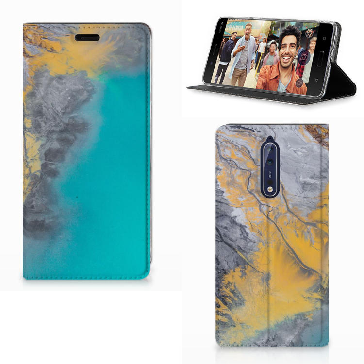 Nokia 8 Standcase Marble Blue Gold