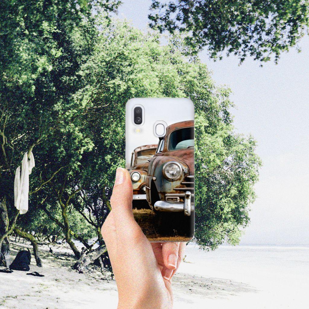 Samsung Galaxy A40 Siliconen Hoesje met foto Vintage Auto