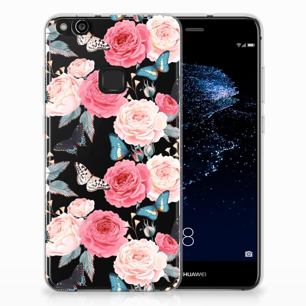 Huawei P10 Lite Uniek TPU Hoesje Butterfly Roses