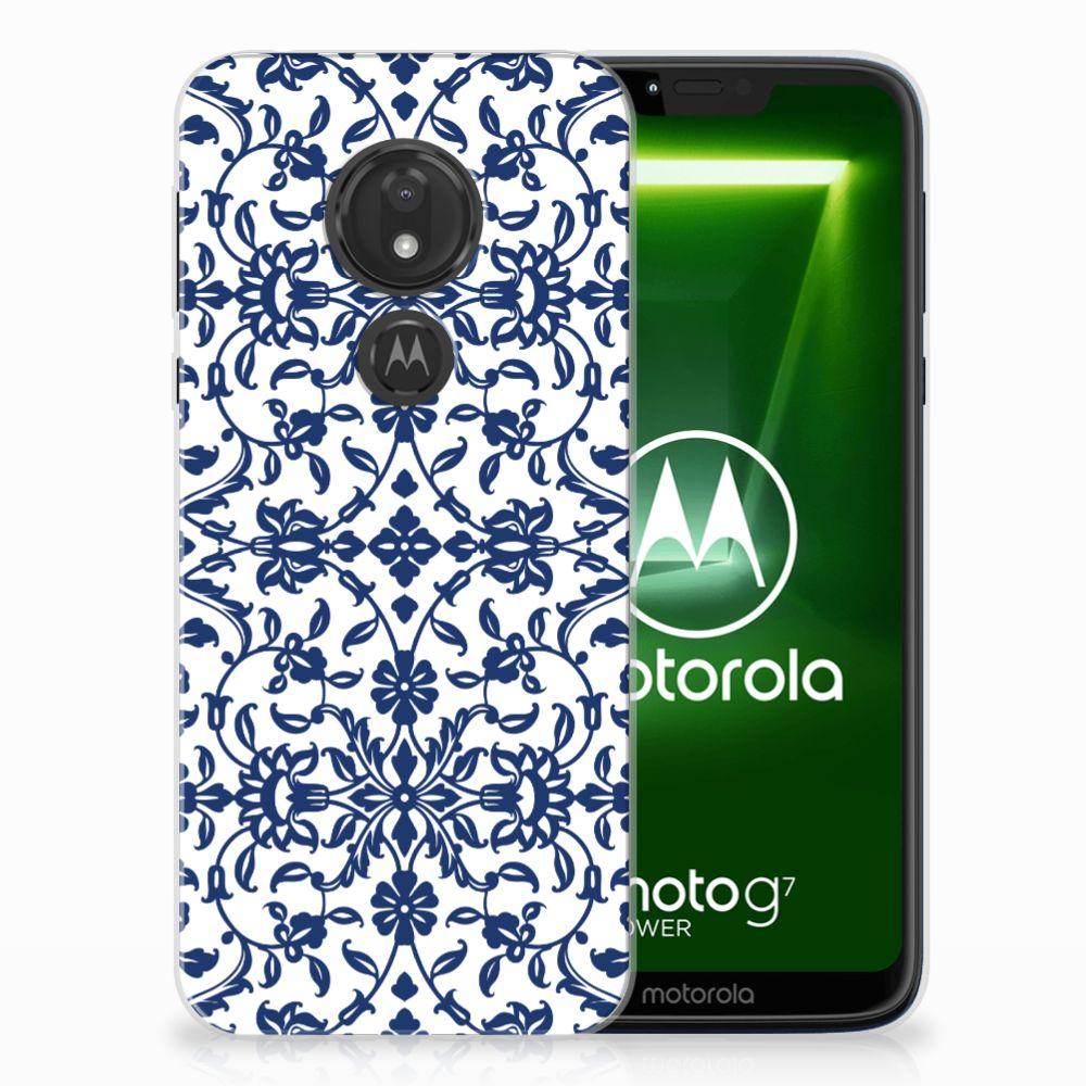 Motorola Moto G7 Power TPU Hoesje Flower Blue