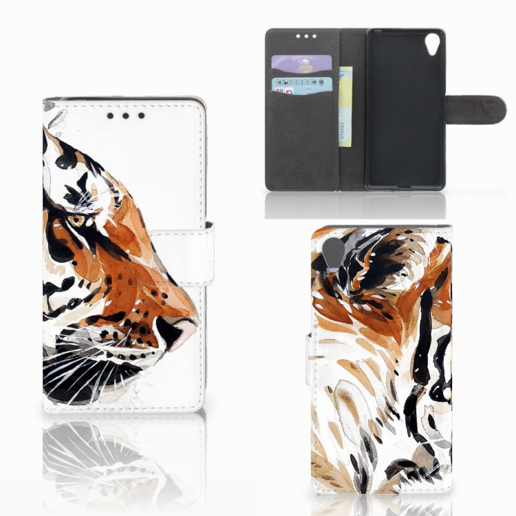Hoesje Sony Xperia X Watercolor Tiger