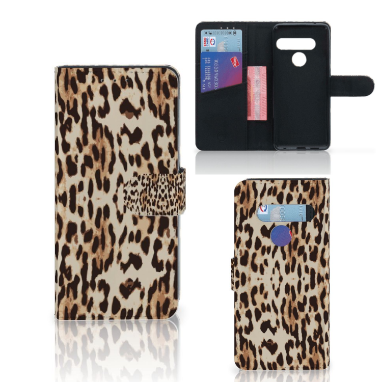 LG G8s Thinq Telefoonhoesje met Pasjes Leopard