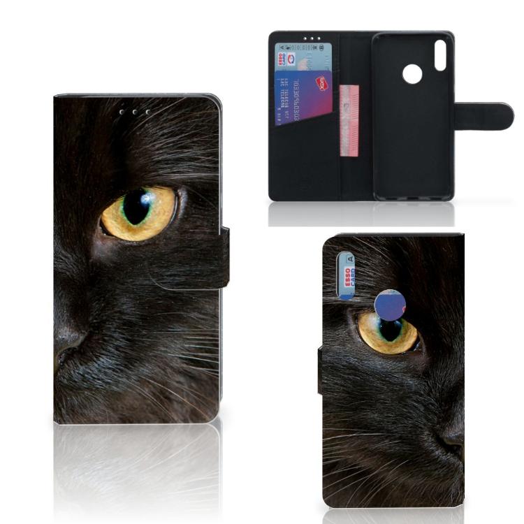 Huawei Y7 Pro | Y7 Prime (2019) Telefoonhoesje met Pasjes Zwarte Kat