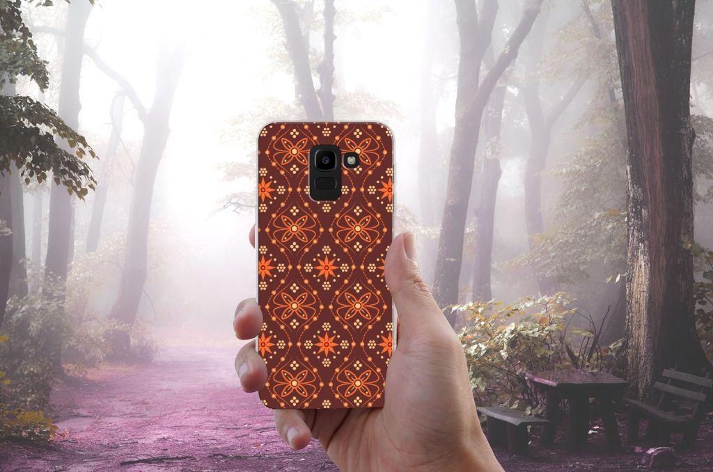 Samsung Galaxy J6 2018 Uniek TPU Hoesje Batik Brown