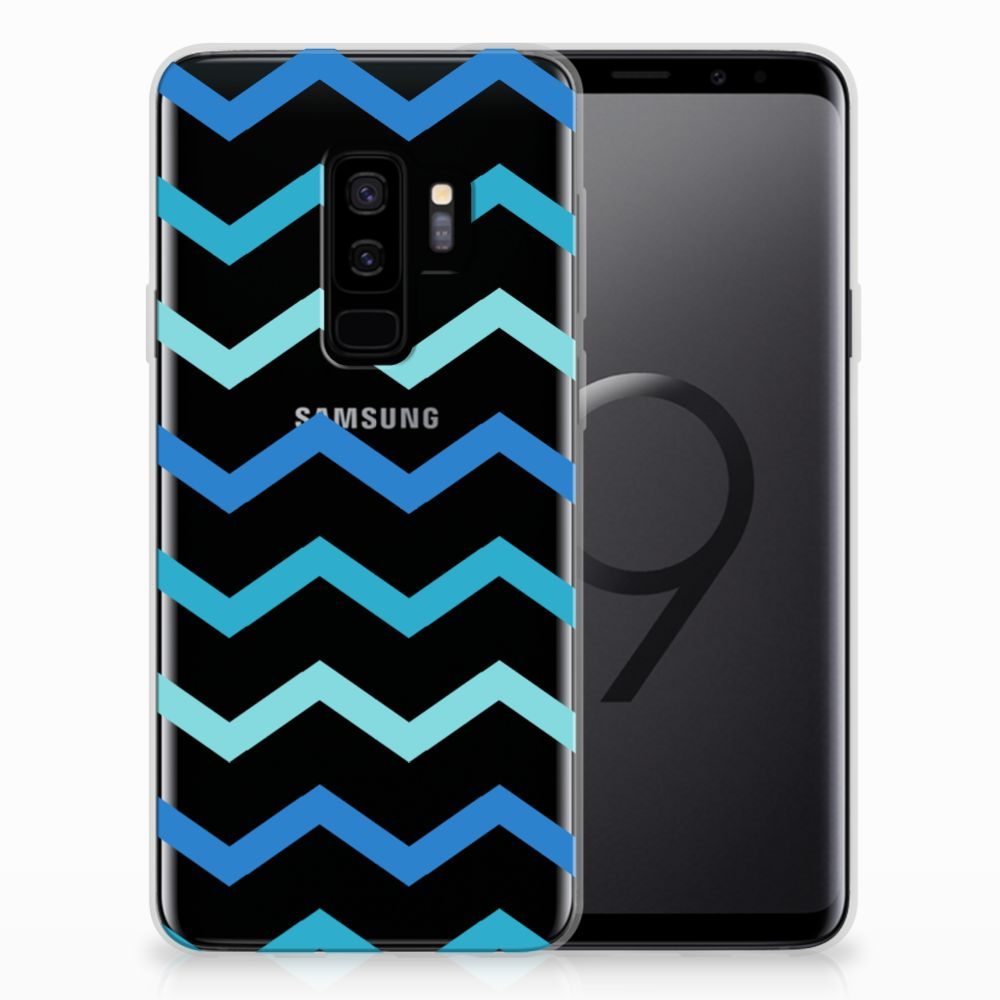 Samsung Galaxy S9 Plus TPU bumper Zigzag Blauw