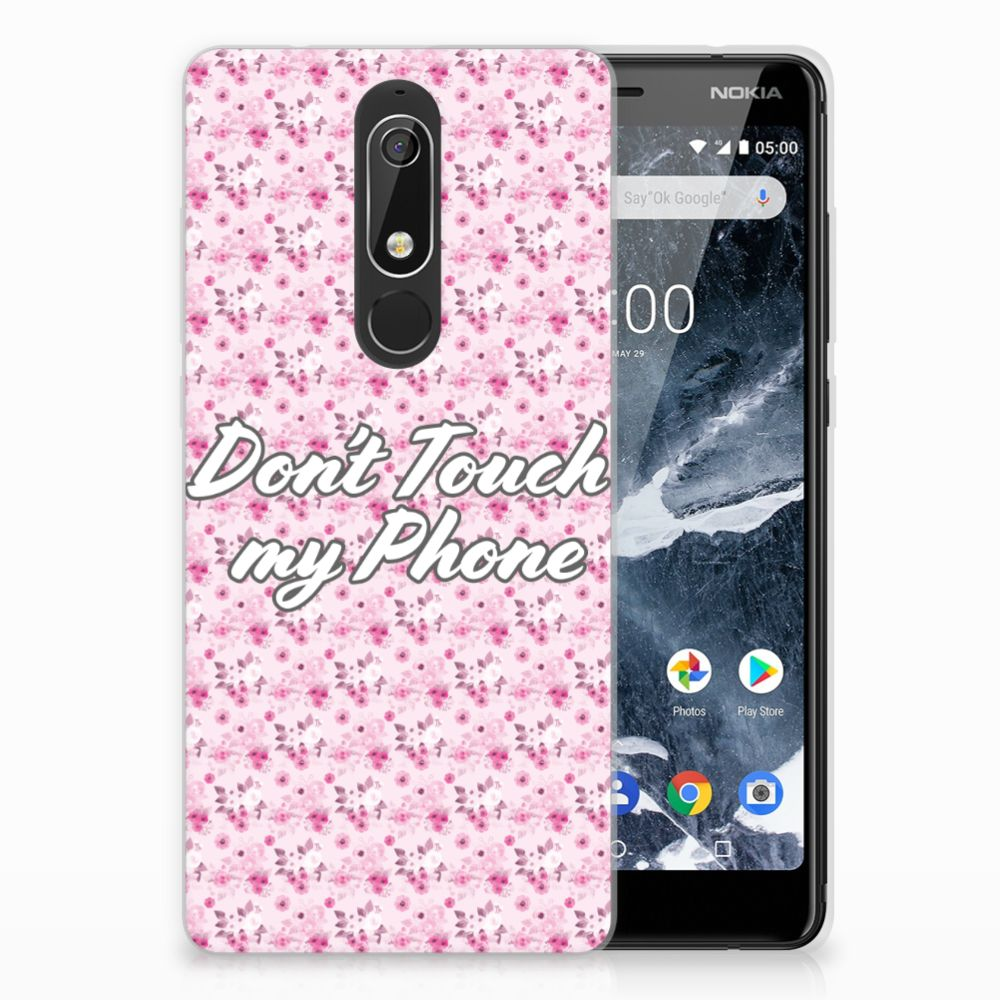 Nokia 5.1 (2018) Uniek TPU Hoesje Flowers Pink DTMP