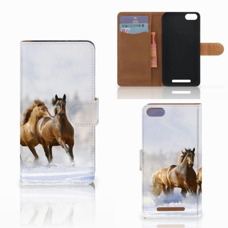 Wiko Lenny 3 Telefoonhoesje met Pasjes Paarden