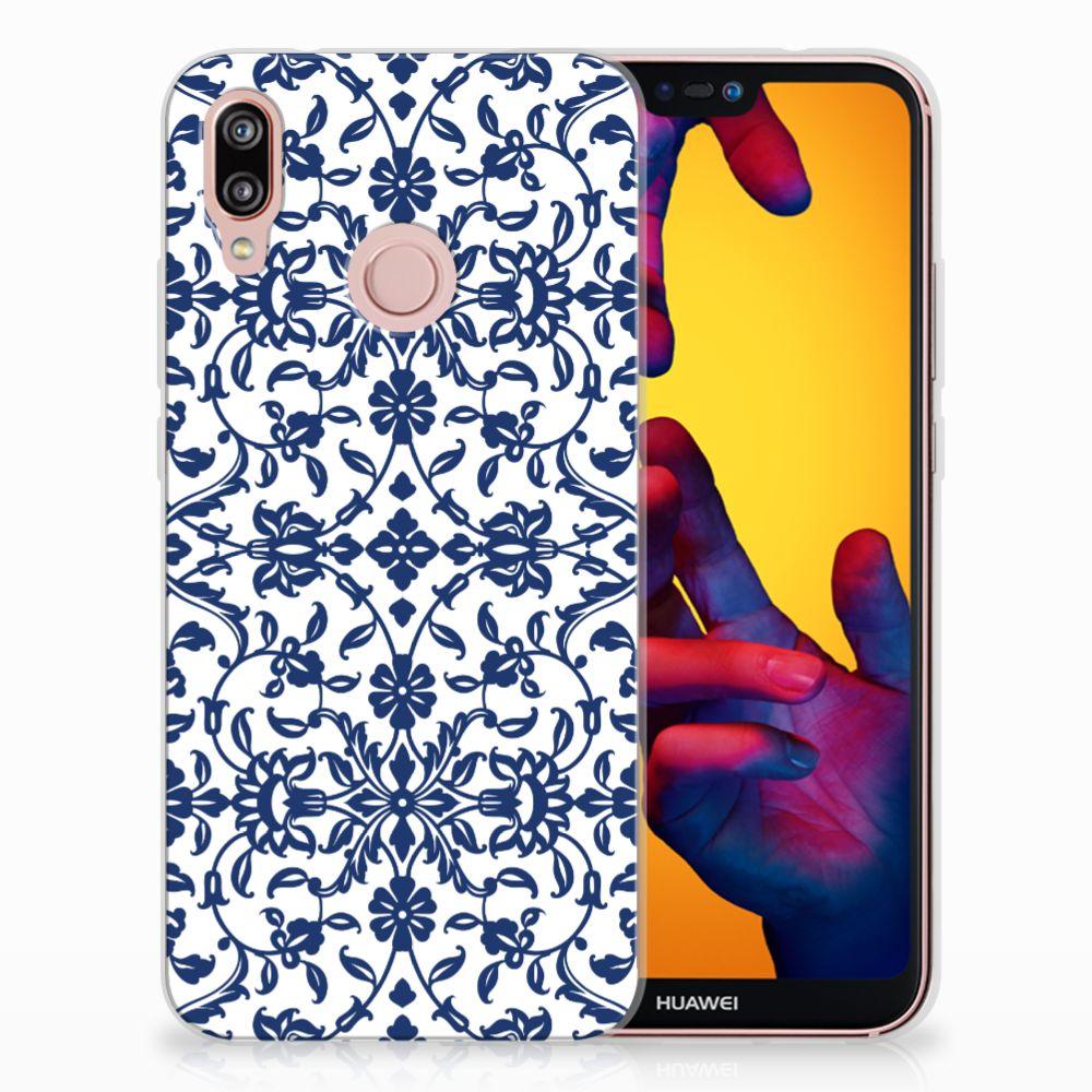Huawei P20 Lite Uniek TPU Hoesje Flower Blue