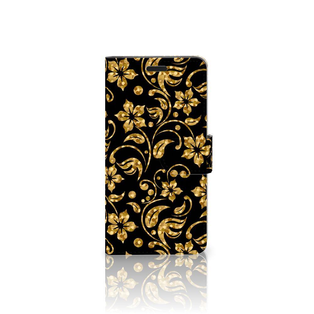 HTC 10 Boekhoesje Design Gouden Bloemen