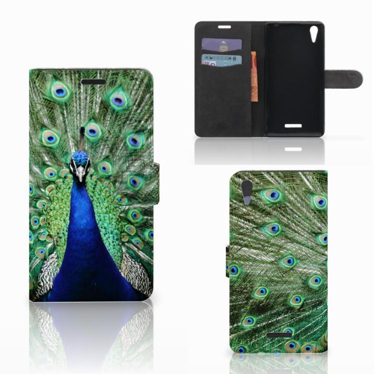 Sony Xperia T3 Telefoonhoesje met Pasjes Pauw