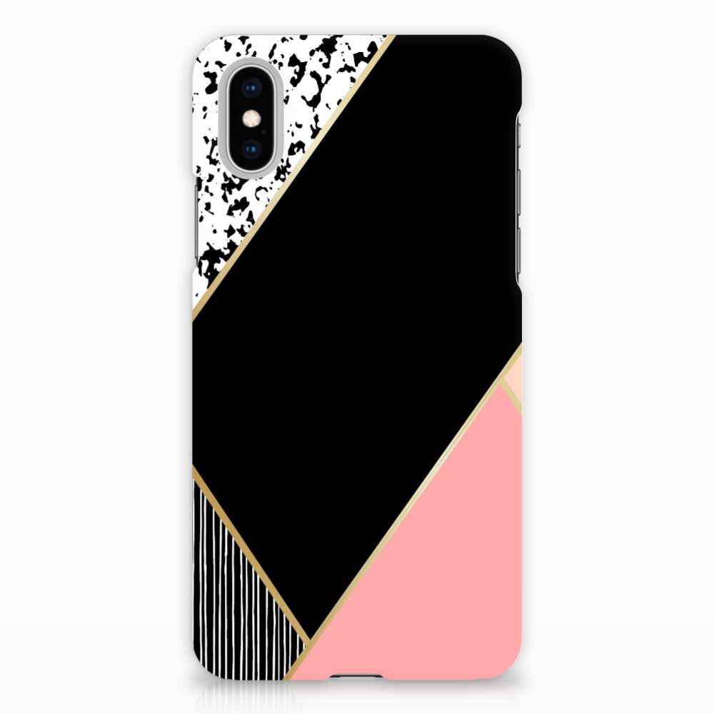 Apple iPhone X | Xs Uniek Hardcase Hoesje Black Pink Shapes