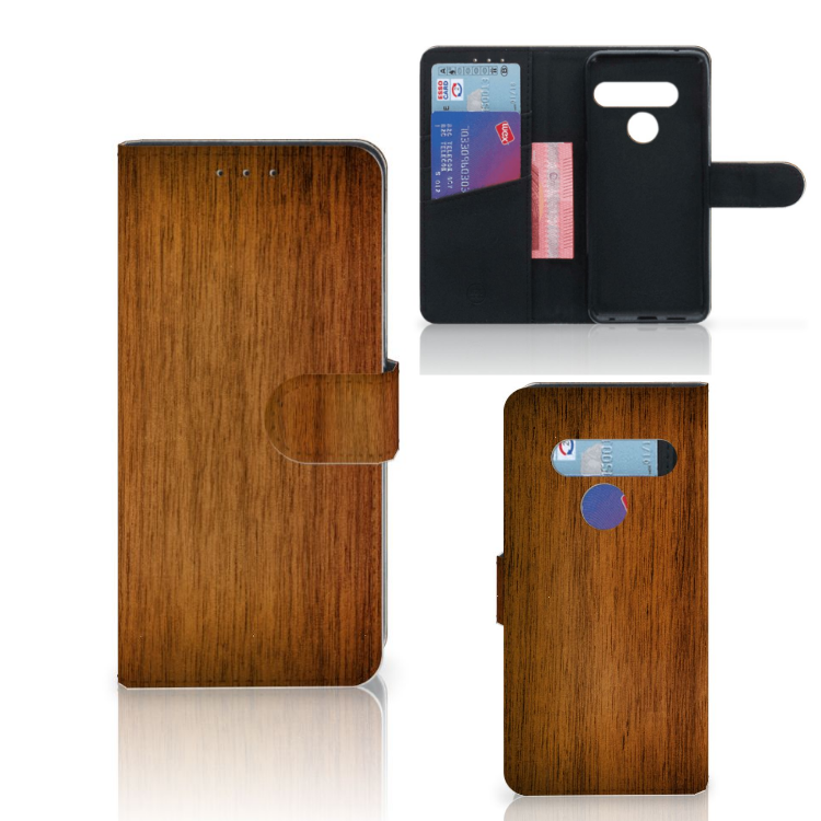 LG G8s Thinq Book Style Case Donker Hout