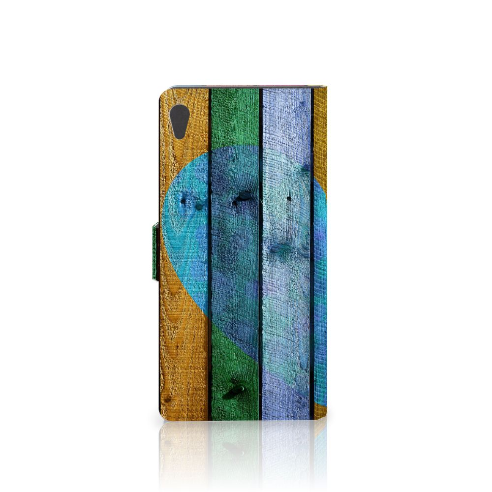 Sony Xperia XA Ultra Book Style Case Wood Heart