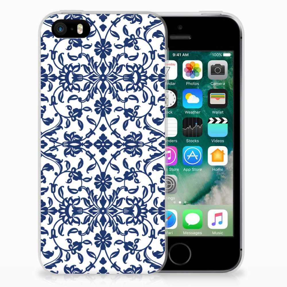 Apple iPhone SE | 5S TPU Case Flower Blue
