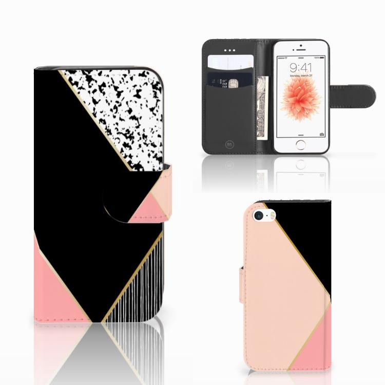 Apple iPhone 5 | 5s | SE Bookcase Zwart Roze Vormen