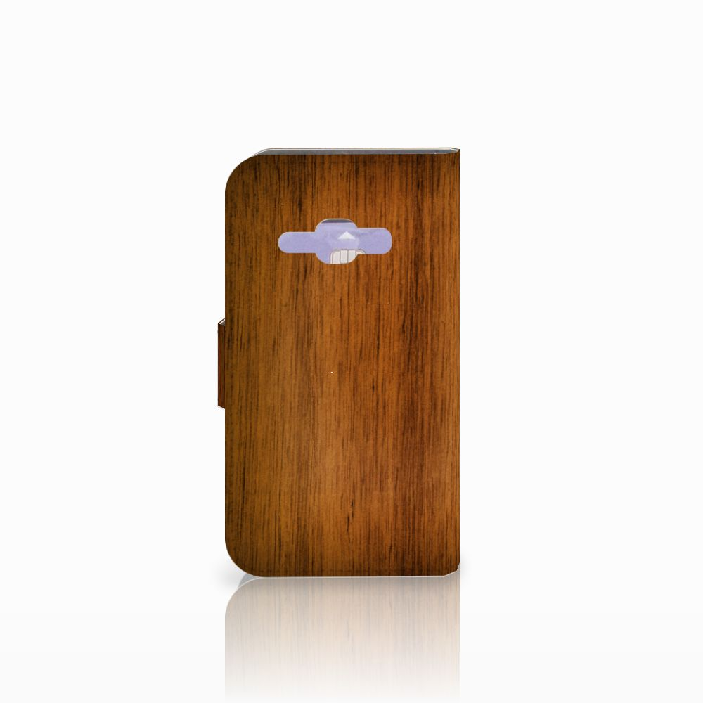 Samsung Galaxy J1 2016 Book Style Case Donker Hout