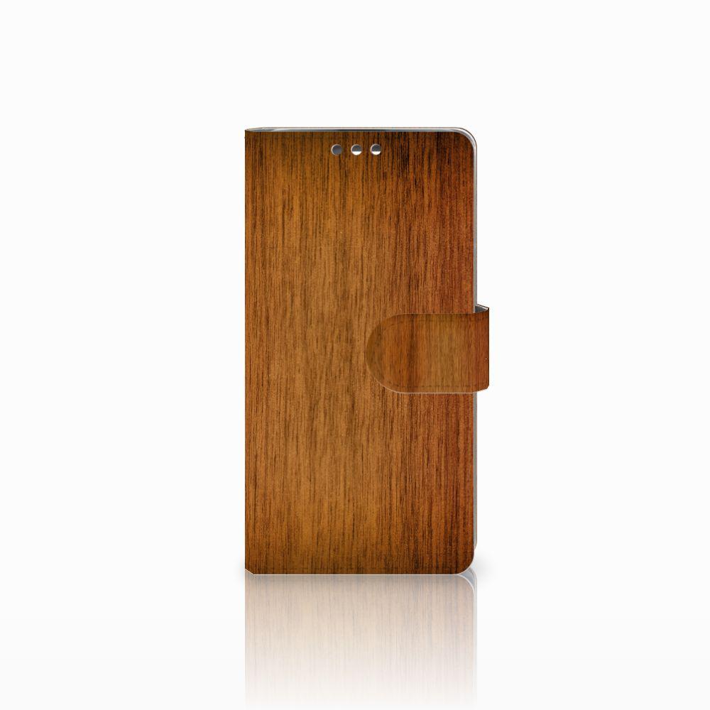 LG K8 Uniek Boekhoesje Donker Hout