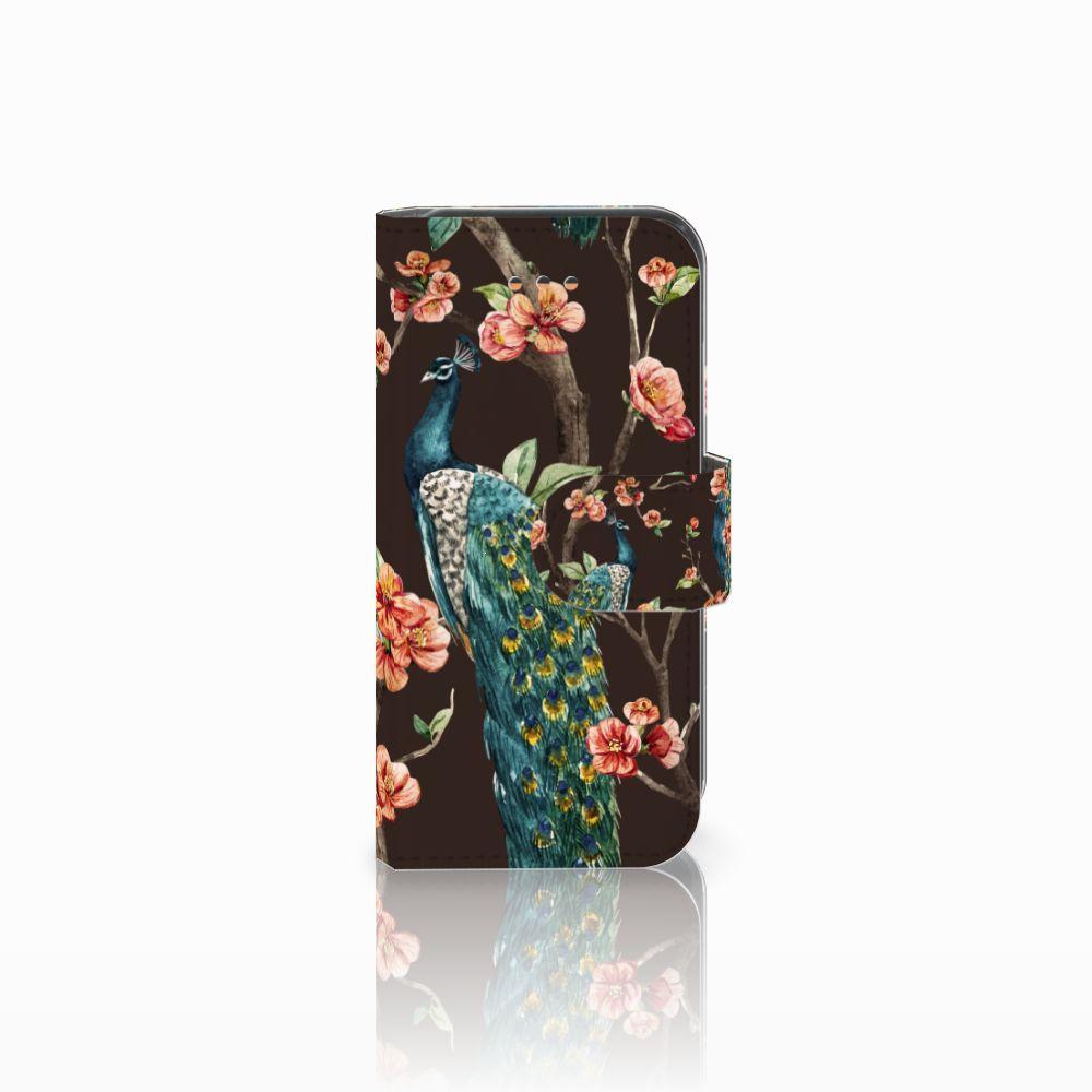 Apple iPhone 5C Telefoonhoesje met Pasjes Pauw met Bloemen