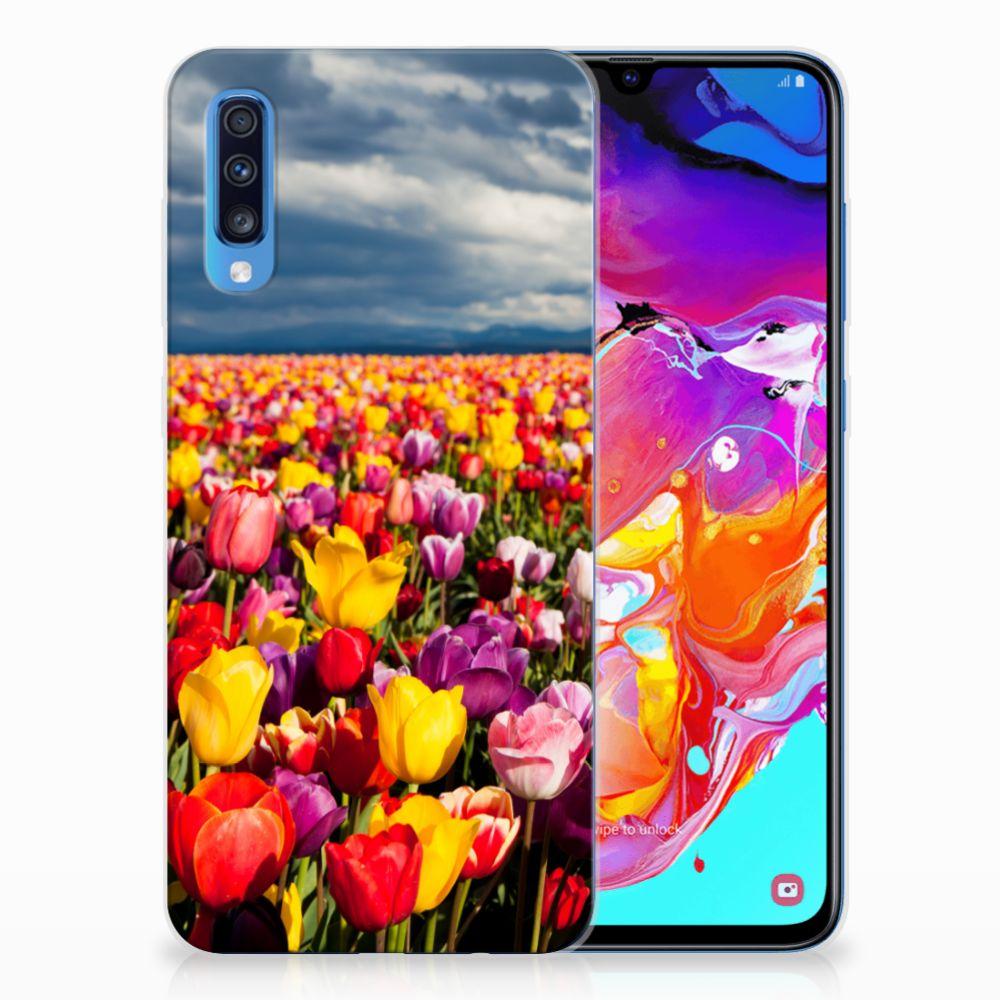 Samsung Galaxy A70 Uniek TPU Hoesje Tulpen