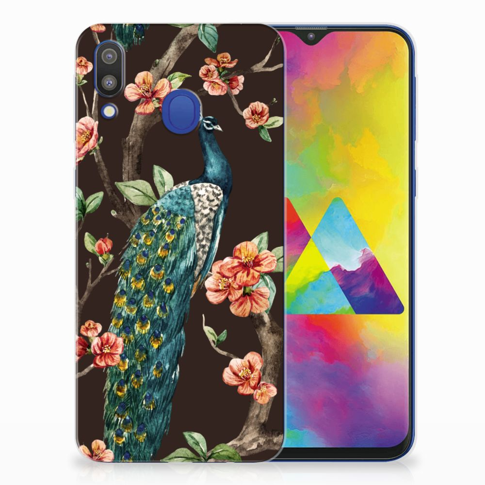 Samsung Galaxy M20 (Power) TPU Hoesje Pauw met Bloemen