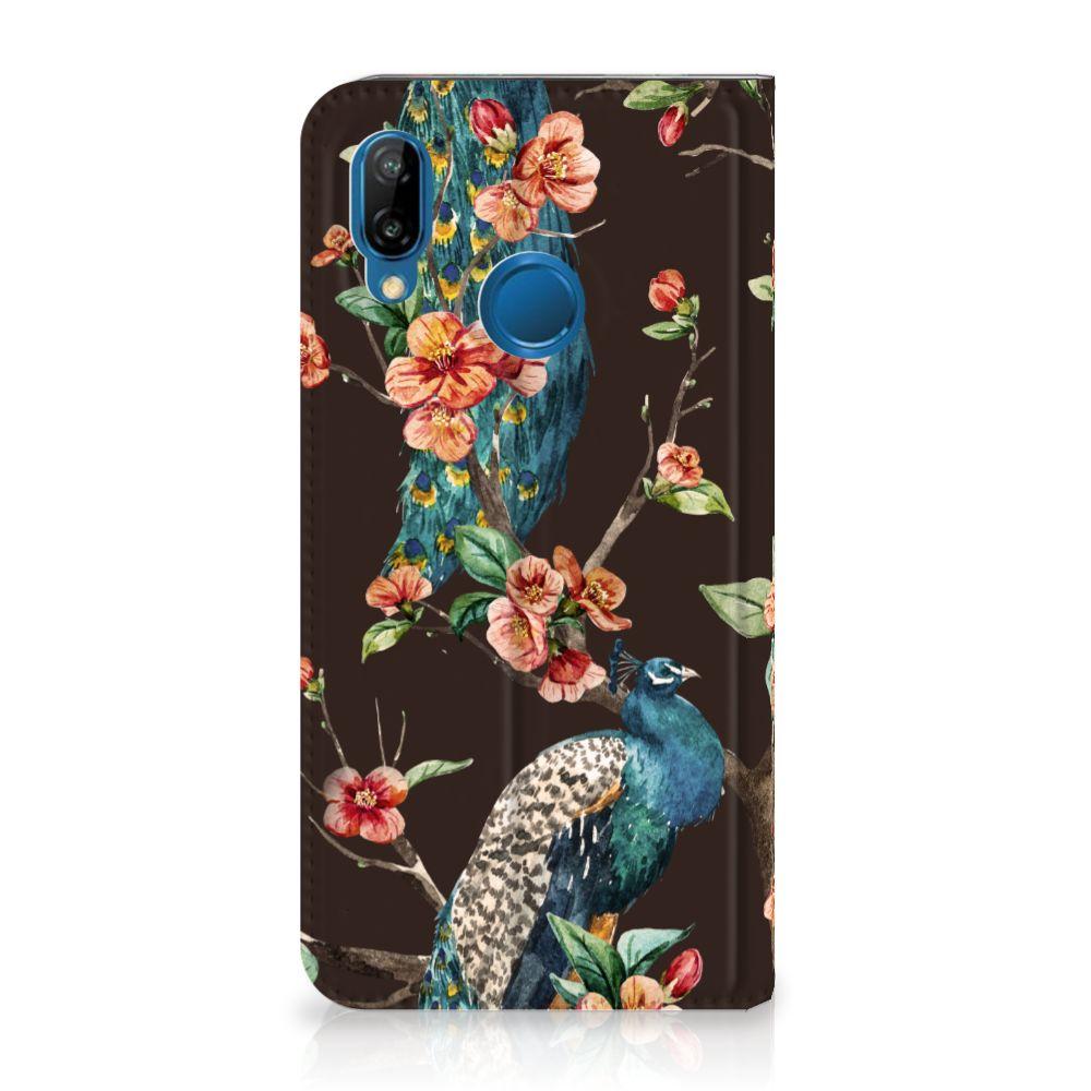 Huawei P20 Lite Standcase Hoesje Design Pauw met Bloemen