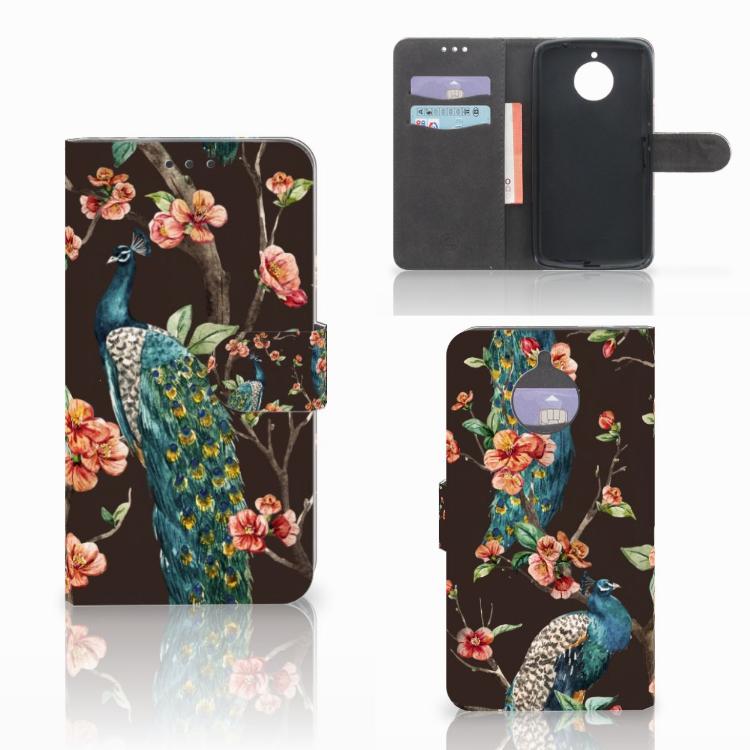 Motorola Moto E4 Plus Telefoonhoesje met Pasjes Pauw met Bloemen