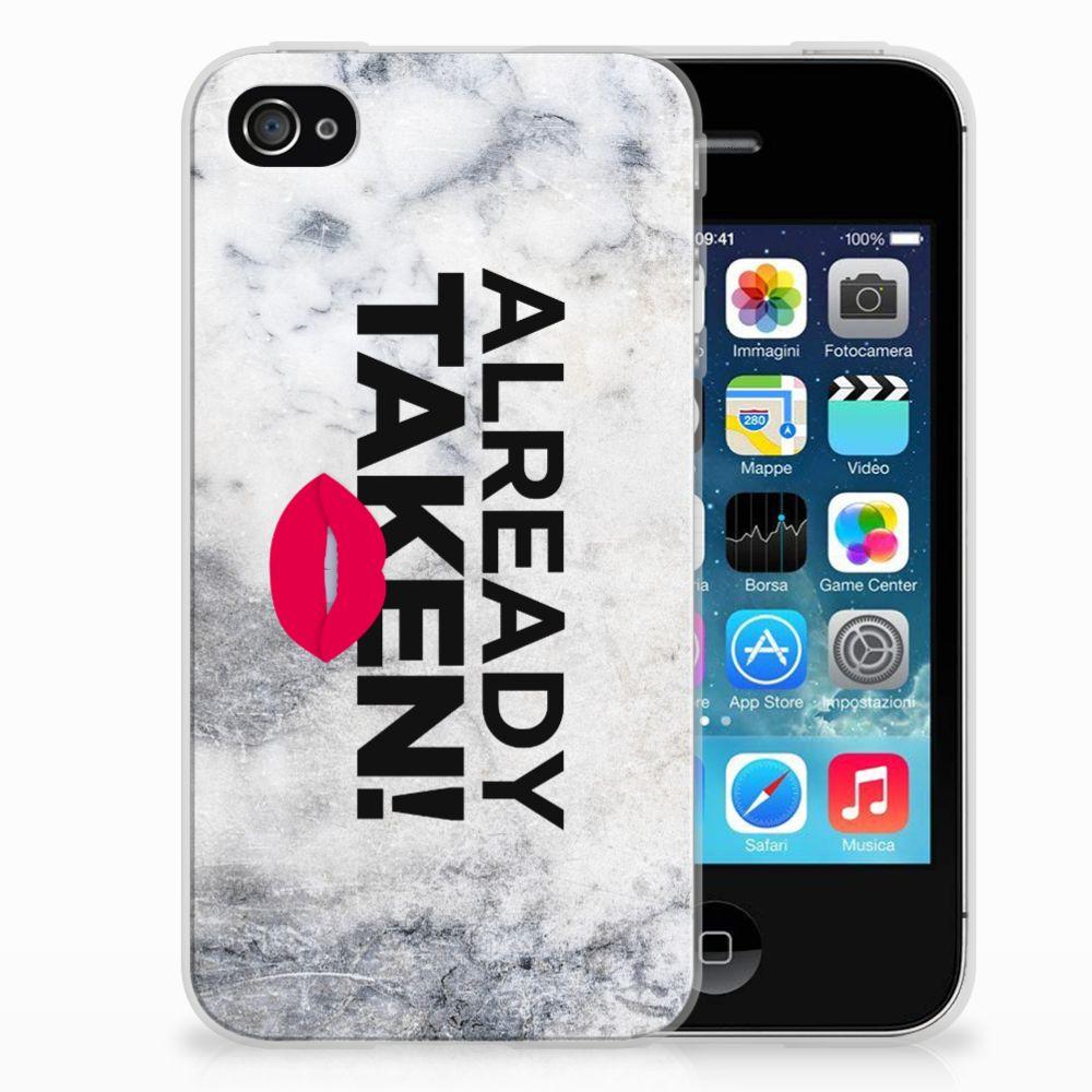 Apple iPhone 4   4s Siliconen hoesje met naam Already Taken White